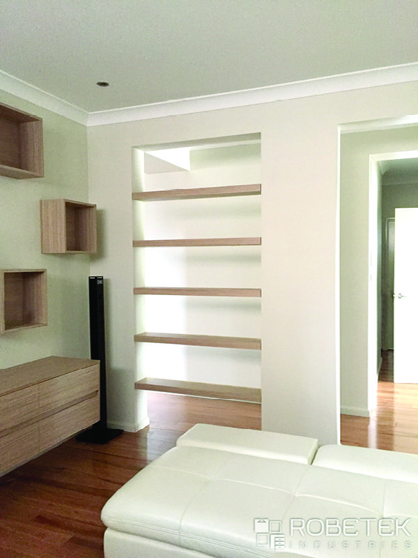 CUSTOM SHELVES Floating Shelves In Polytec Satra Wood Fill One Of The Two Entrances Into Room Creating A More Intimate Space And Co Ordinate