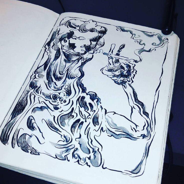 Boceto recordando cuando dejé el tabaco. tinta