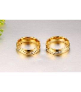 nemesacél gyűrű, Aranyozott férfi karikagyűrű nemesacélból