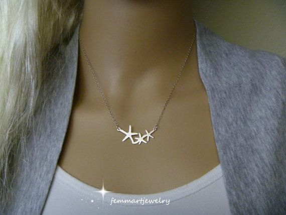 Starfish Charm Necklace. Perfect for a Beach themed wedding, summer accessory, personal gift or personal use. Brighten up your day with this awesome collection.  MATERIALS: Starfish Connector, 32x14mm, Rhodium (white gold) Plated over Brass or Sterling Silver Sterling Silver Cable Chain  Will be in a gift box ready for gift giving.  Thank you