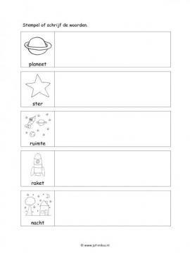 Werkblad ruimte - Woorden stempelen