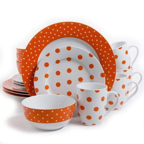 Isaac Mizrahi Dot Luxe 16 pc Porcelain Dinnerware Set- Orange. The Isaac Mizrahi Dot Luxe 16 Piece Dinnerware Set is a distinct and striking blend of form and function. These durable and elegant ceramics comes in a variety of gorgeous patterns in either: Orange, Navy, Chartreuse, or Teal. Take your next dining occasion to a higher level of sophistication and fun with these wonderful and eye-catching pieces. Each set comes complete with 4-each of stunning dinner plates, salad plates, bowls…