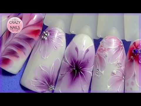 The flowers on the wet gel-varnish, the technique of watercolor on your nail - YouTube