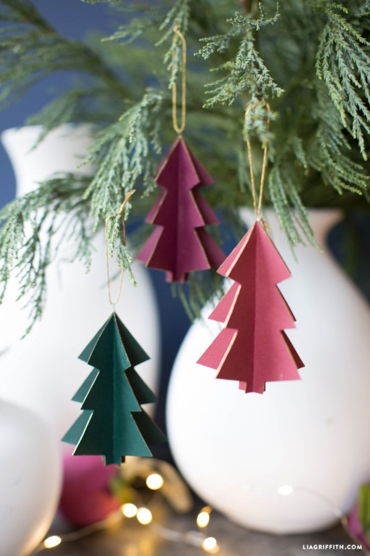 3d Paper Tree Ornaments Lia Griffith Christmas Tree Decorations Diy Diy Paper Christmas Tree Diy Christmas Tree Ornaments