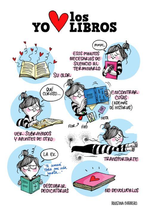 I love books / Amo los libros. Enamorada de la lectura (ilustración de Agustina Guerrero)