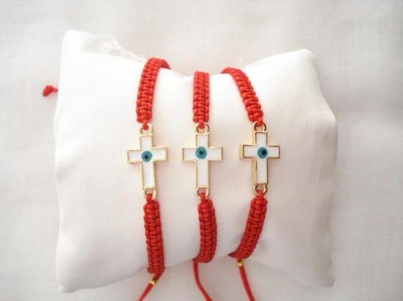 Sideways cross bracelet Evil eye cross charm Baby shower by Poppyg