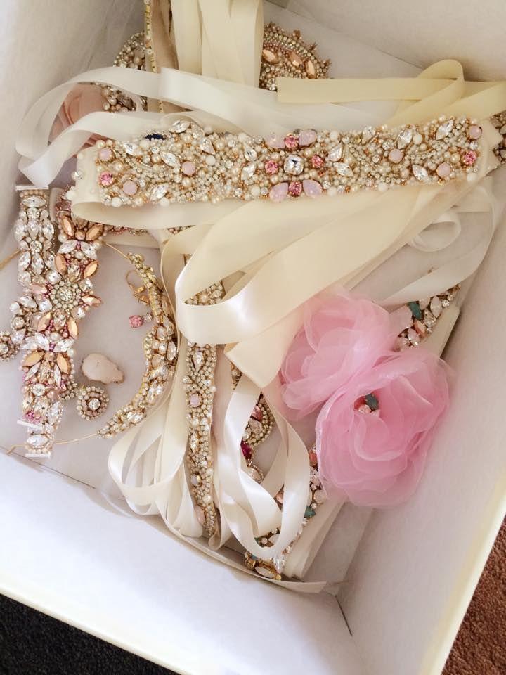 Swarovski Crystal Opal and Rose Gold Bridal Belt - One of a Kind Hand Stitched