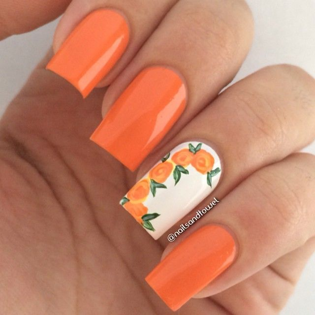 17 Best Ideas About Orange Nail Art On Pinterest