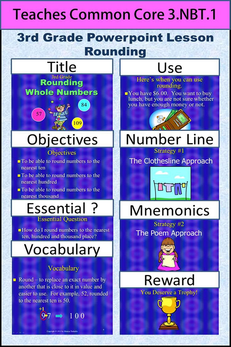 3rd Grade Rounding Whole Numbers teaches students to round numbers up through the thousands in two different ways: the clothesline approach (number line) and the poem approach (following the rules).  To see this product click View.