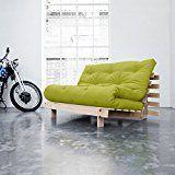 KARUP - ROOTS 140 CM, divano e letto, futon verde su legno naturale