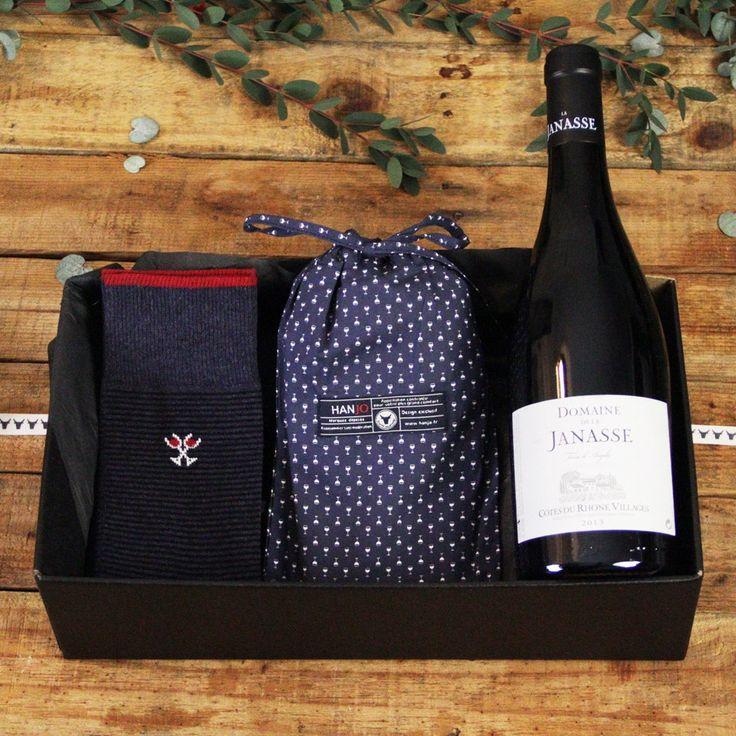 Caleçon et Chaussettes Made In France Mode Homme Motif Verres à vin avec Bouteille  - Idee cadeau de noel pour homme 2017 vin, restaurant, gastronomie, gourmand, style : motif, pois, bleu marine