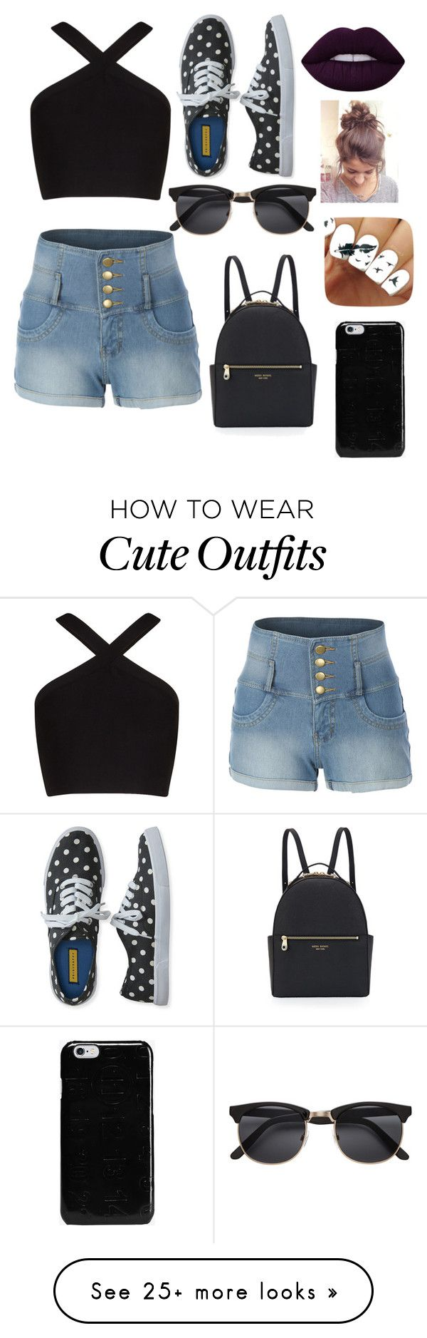 """""""My First Polyvore Outfit"""" by baranovakatia on Polyvore featuring LE3NO, BCBGMAXAZRIA, Aéropostale, Lime Crime, Maison Margiela and Henri Bendel"""
