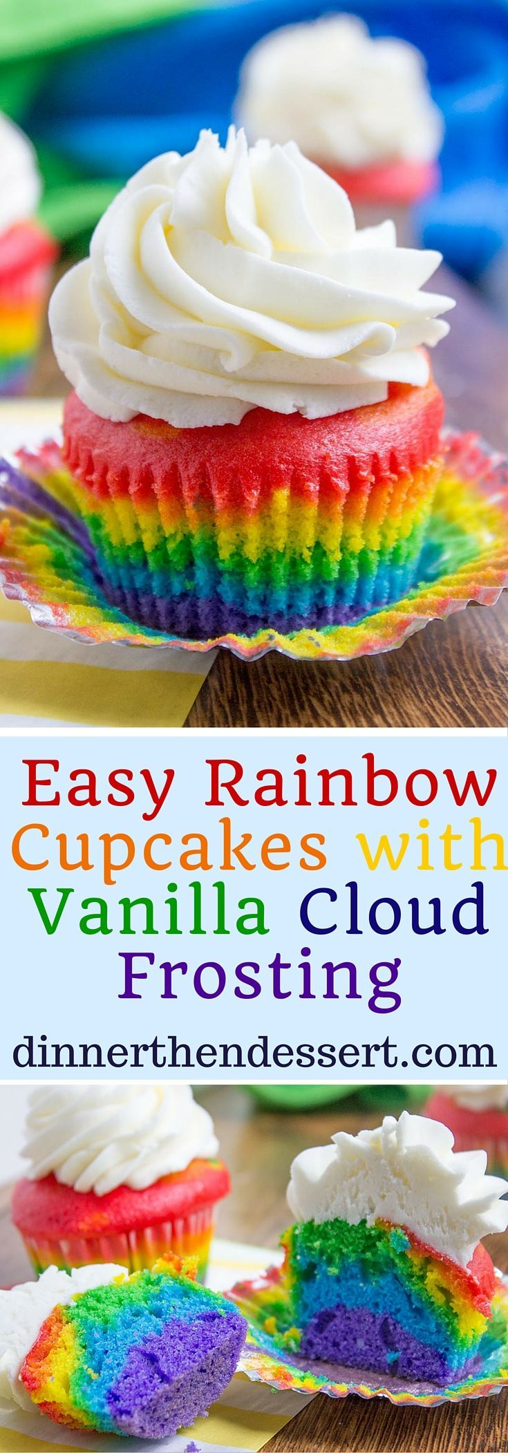 These cakes look so pretty, just use natural food colour! I must try making these.   Rainbow Cupcakes with fluffy cloud-like vanilla frosting that is guaranteed to make anyone who sees them smile. No cake mix, still EASY.