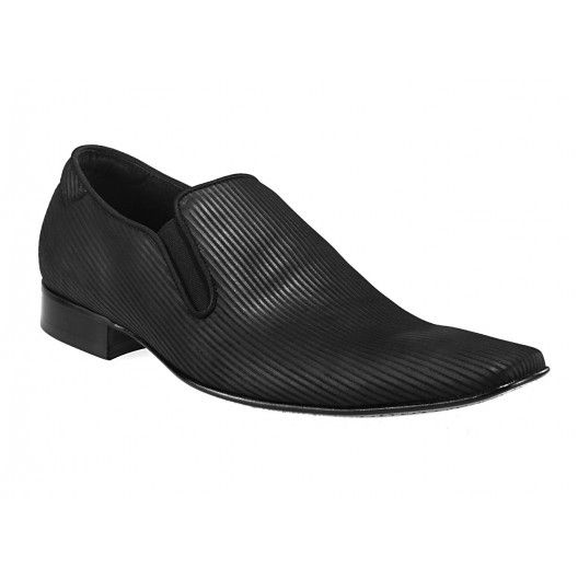 Pánske mokasíny čierne s pruhovaným vzorom - fashionday.eu
