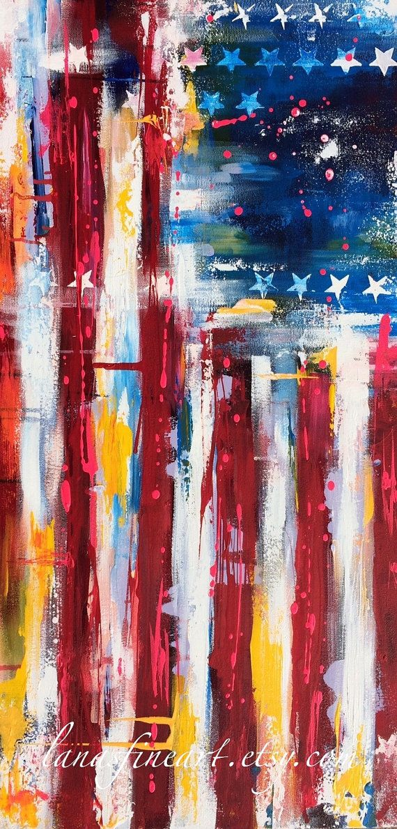 American Flag ABSTRACT Painting ABSTRACT by lanasfineart on Etsy by Lana Moes