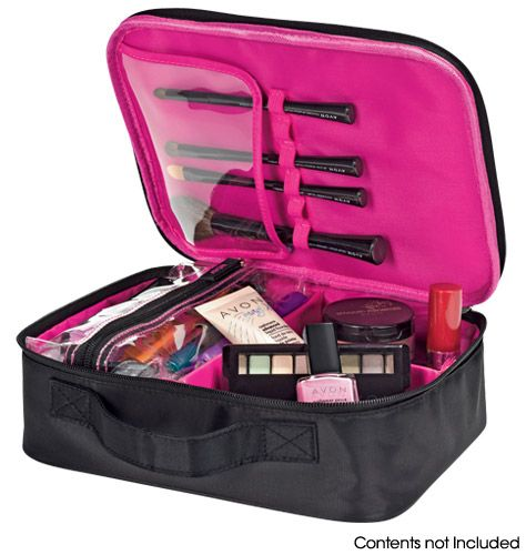 Essential Makeup Organizer- Double-zipper closure and carry handle. Case with removable insert. Polyester. Includes: •removable see-through zippered makeup bag •brush-storage section with vinyl protective cover and elastic strap with 6 slots for brushes •removable dividers  Shop online at tashina.avonrepresentative.com