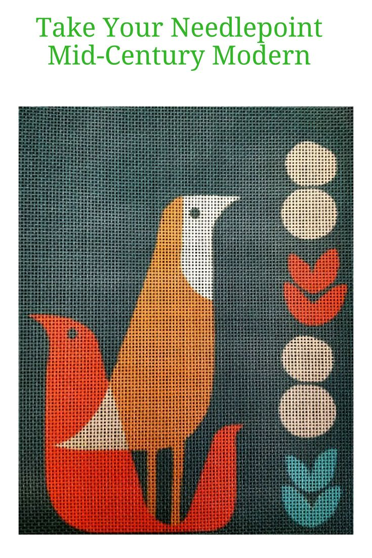 Retro, vintage, mid century - call it what you like, this is a stylish contemporary needlepoint project that will look great on your wall and be fun and easy to stitch.