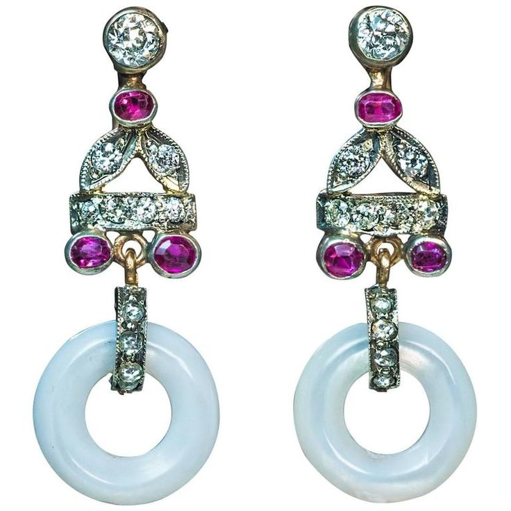 Art Deco Mother-of-Pearl Ruby Diamond silver gold  Dangle Earrings. circa 1930s  Silver topped 14K gold, carved mother-of-pearl, six rubies, 14 old European and single cut diamonds, 10 old rose cut diamonds  Estimated total diamond weight 0.90 ct  Marked with Moscow assay mark for 583 gold
