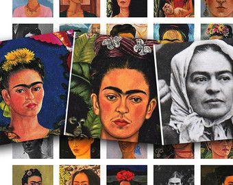 Frida Kahlo collage sheet in 1 inch squares, vintage printable digital collage sheet no. 1512