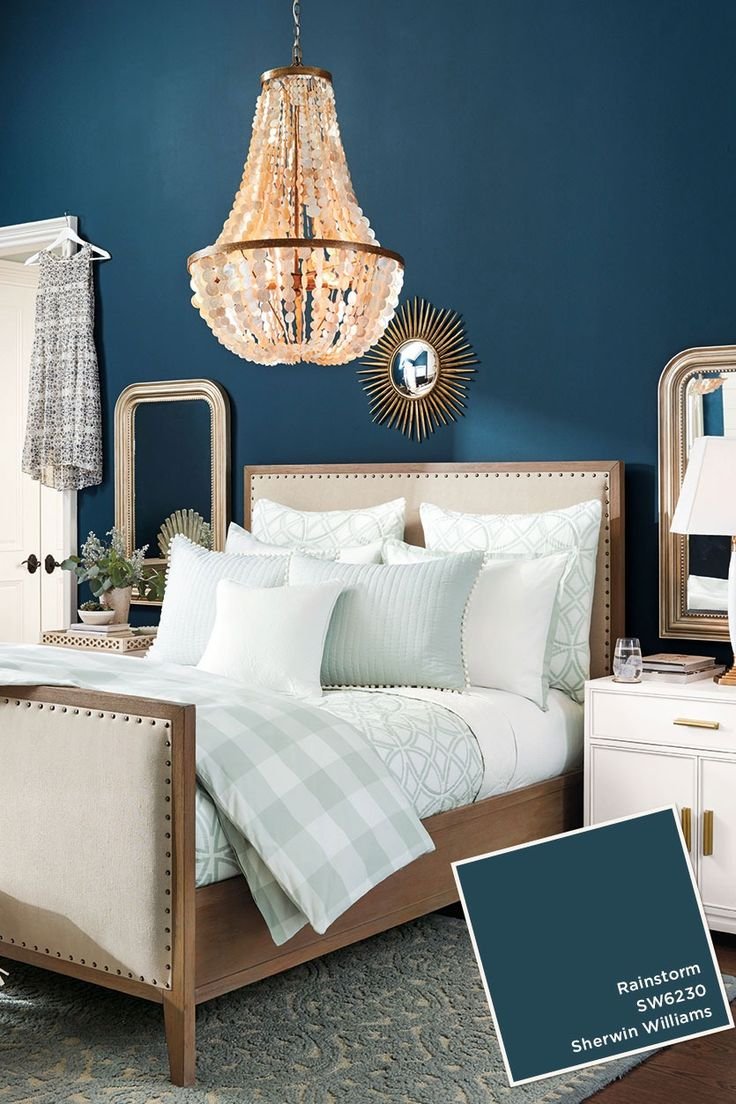 Bedroom colors and designs - Sherwin Williams Rainstorm Paint Color From Ballard Designs Catalog