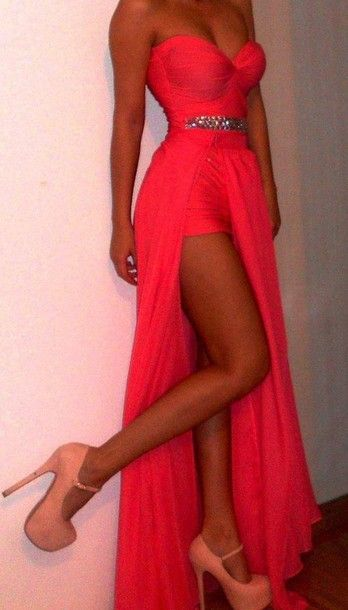 dress maxi dress prom dress wedding gown prom clothes clothes: wedding sparkles slit dress high heels coral chiffon pink sequin gorgeous pin...