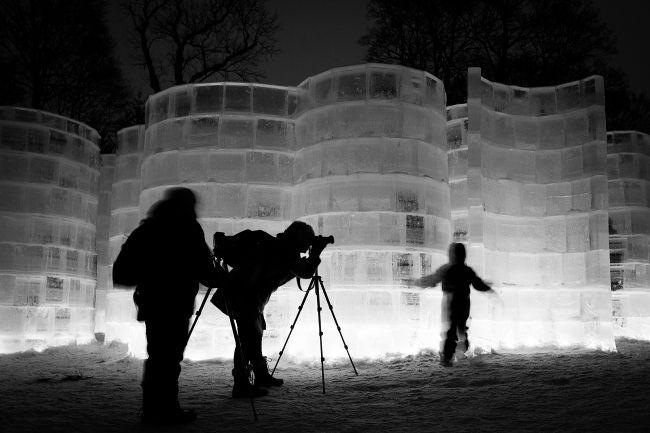 Ice labyrinth in Oslo Botanical Gardens, Oslo, Norway. Photo: Henning S. Pettersen.