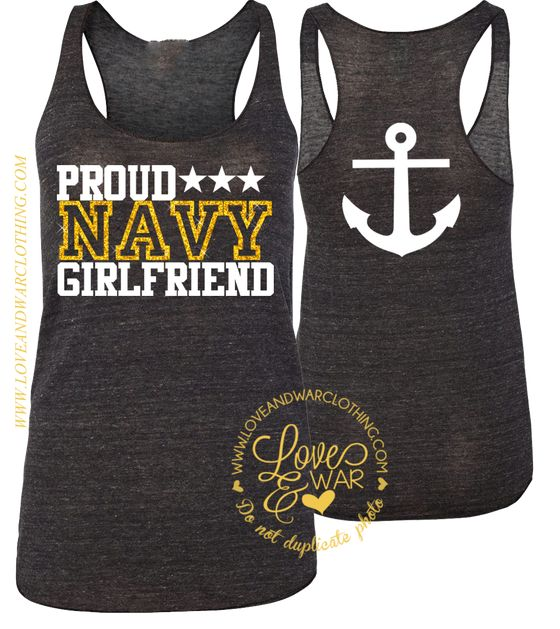 Proud Navy girlfriend racer back tank top [CUSTOMIZABLE]