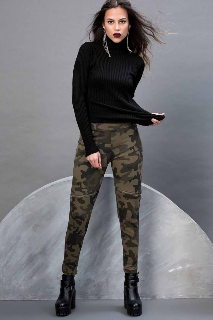 Pantaloni camuflaj drepti Cool&Sexy sunt ideali pentru a fi purtati in sezonul rece. Pantalonii sunt prevazuti cu buzunare si sunt fabricati din 80% bumbac si 20% poliester.