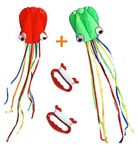 Boyu kids kite,Pack-2 (With kite lines and handles ) easy flyer 150 inches * 28 inchesï¼Colorful Kite Software Octopus Kite