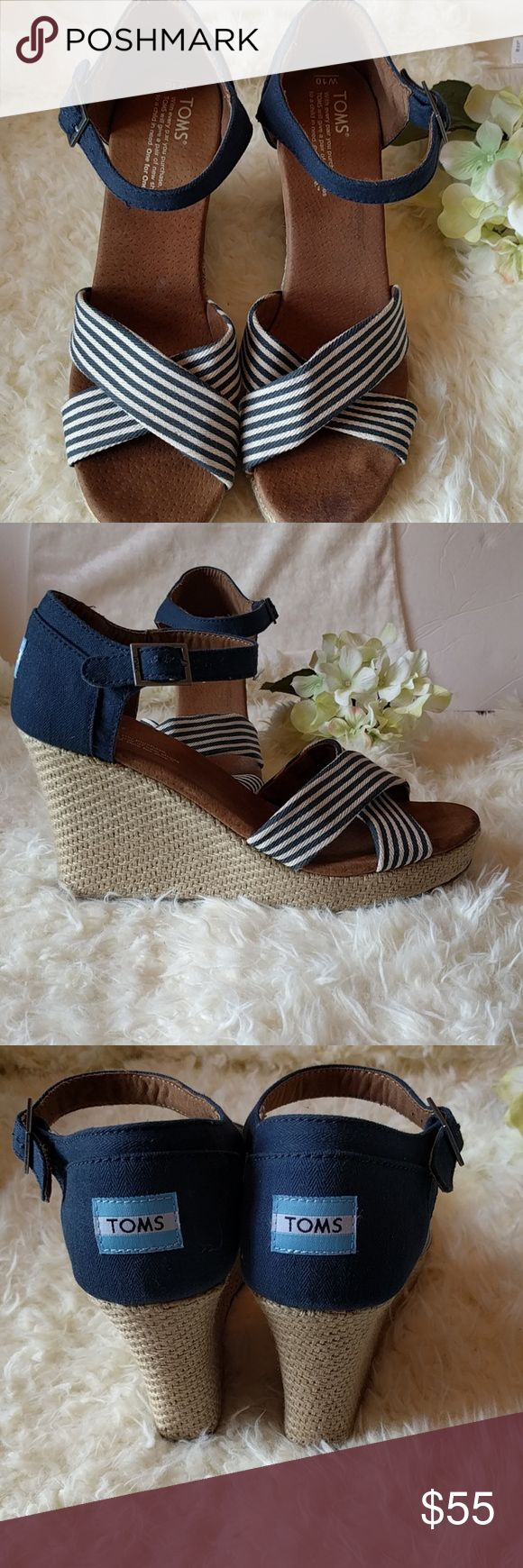 TOMS blue and white espadrille wedges Good used condition. Some minor stains on sole. TOMS Shoes Espadrilles