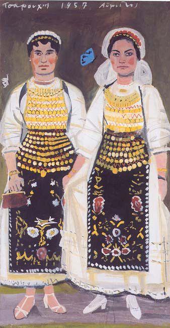 ΓΙΑΝΝΗΣ ΤΣΑΡΟΥΧΗΣ Δύο γυναίκες από την Αταλάντη (1957) Υδατογραφία με κόλλα σε χαρτί 148×79 εκ. Συλλογή Εμφιετζόγλου