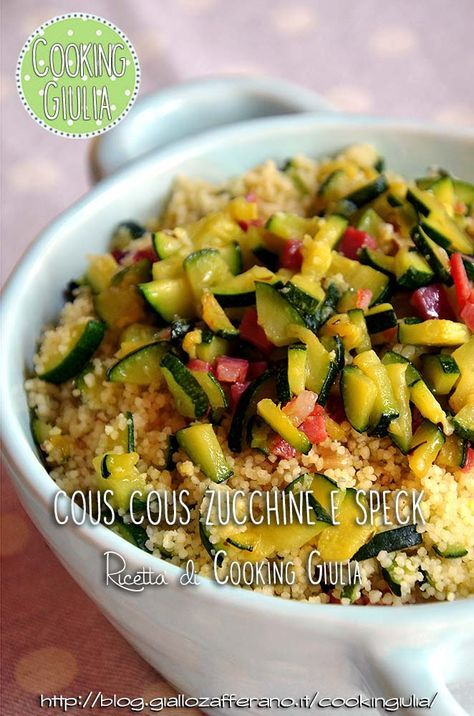 Questo cous cous zucchine e speck è un piatto unico molto semplice da preparare e adatto per la stagione estiva. Può essere servito anche freddo.