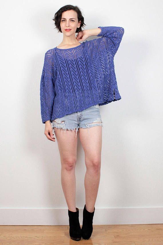 Vintage 80s Sheer Mesh Top Blue Purple Unlined Crochet Netting Tshirt Draped Mod 1980s Blouse New Wave Chevron Stripe Knit Top M L Large XL #1980s #80s #vintage #etsy #sheer #mesh #netting #crochet #macrame #tshirt #shirt #top