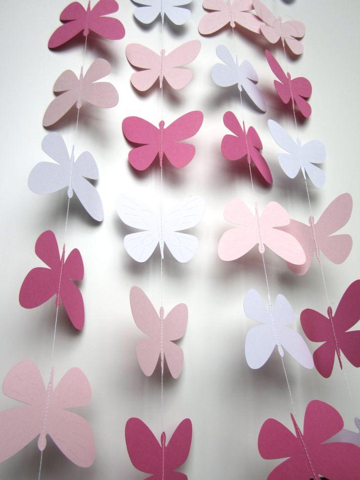 Wedding garland, 10 Foot Paper Butterfly Garland, Photo prop, Nursery decor by FleurandStitch on Etsy