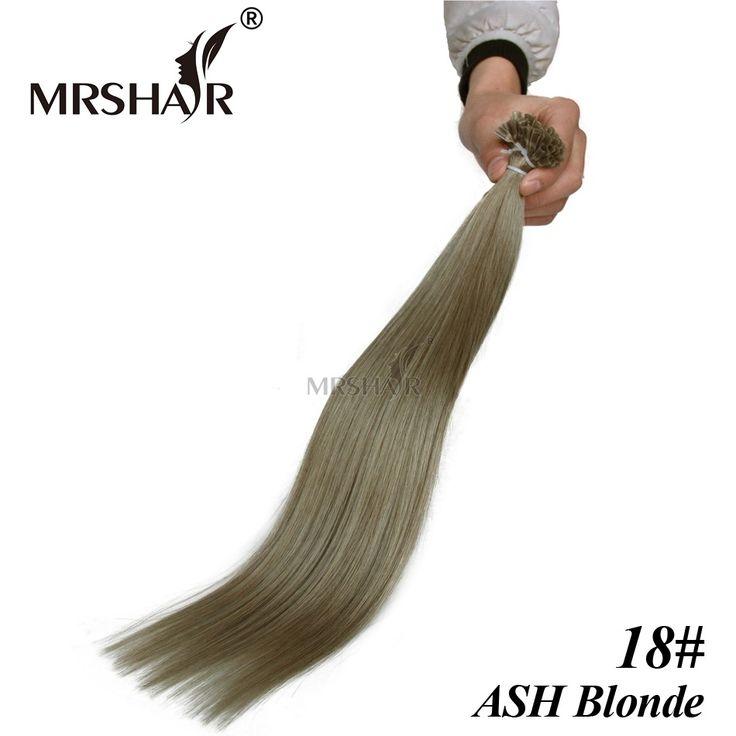 "MRSHAIR 18# Keratin Human Hair U Tip 1g strand ASH Blonde Nail Tip Hair Brazilian Straight Pre Bonded Hair Extensions 16""-24"""