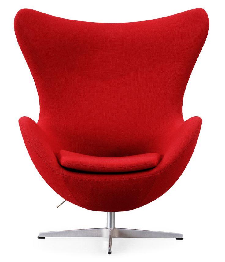 Ägget, Arne Jacobsen, stol, fåtölj, röd, klassisk, design, 50-tal