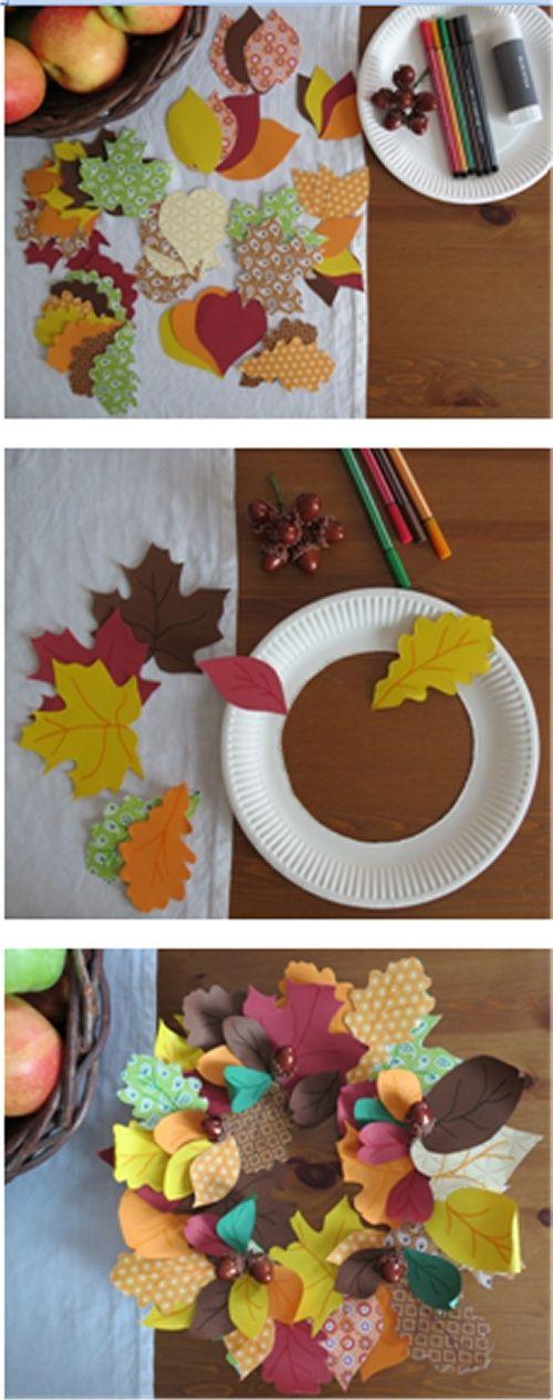 Осенние поделки для детей. autumn wreath - scrapbook paper and paper plate