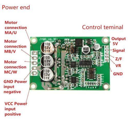 V6 DC 12V 24V 36V 500W Brushless Motor Drive Board Balanced Car BLDC Controller…