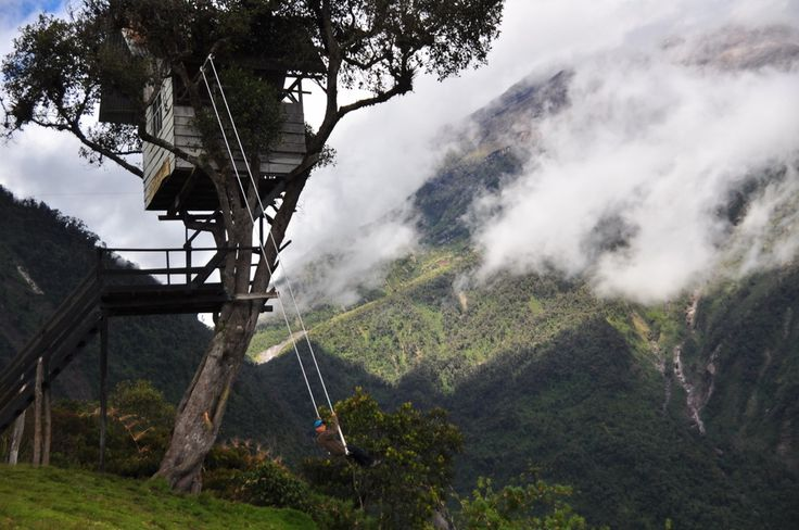 """The swing at the """"End of the World"""" in Baños, Ecuador 
