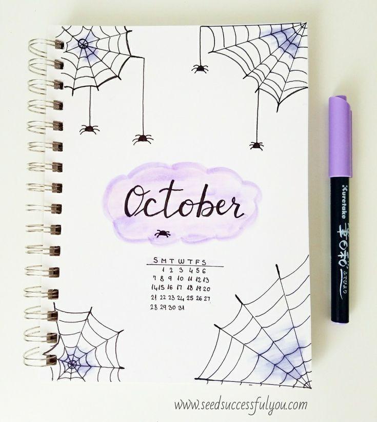 Idee für das Deckblatt des Oktober-Bullet-Journals. 🕸🕷