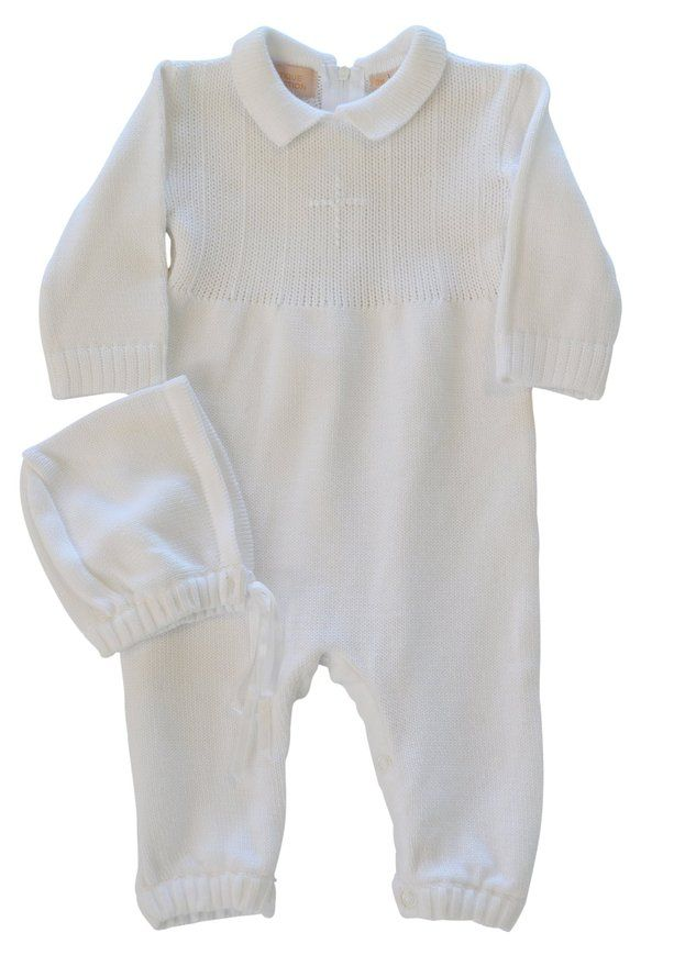 Baby Boy's Christening Outfit with Bonnet Hat - Cross Detail (3 Months)