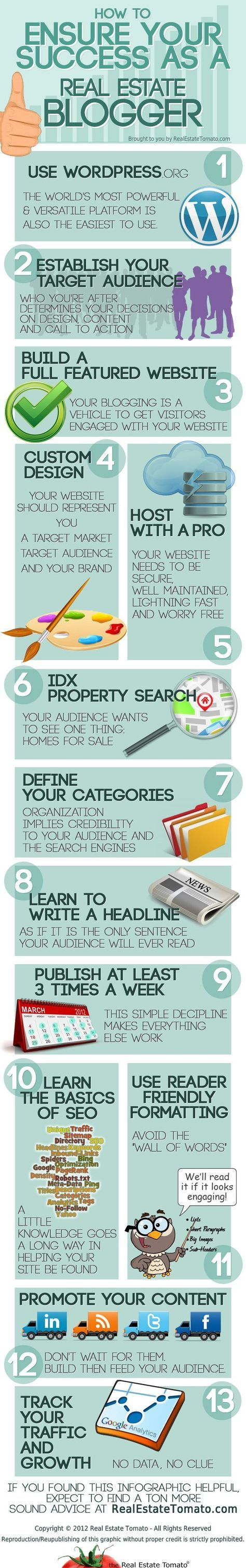 How to Ensure Your Success as a Real Estate Blogger. Great infographic for my real estate friends.