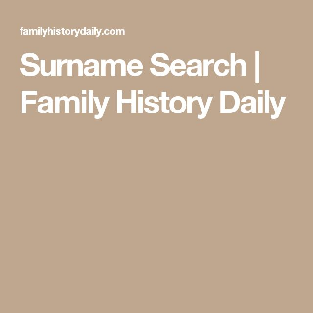 Surname Search | Family History Daily