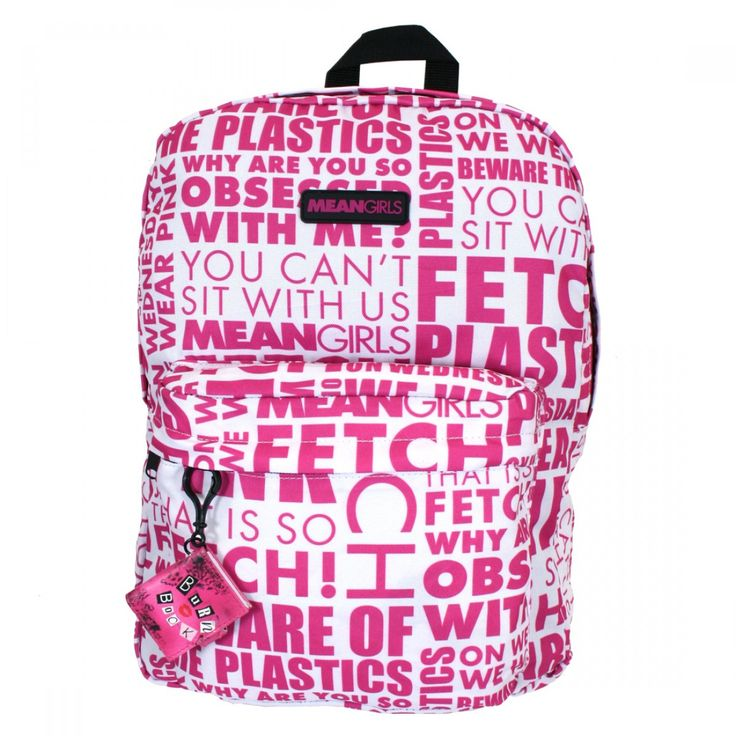Mean Girls Movie Quotes White Pink School Book Bag Backpack