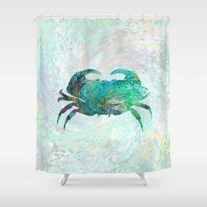 Shower Curtains Art Shower Curtain Bathroom Turquoise Crab Home decor digital art L.Dumas by artbyLucie on Etsy