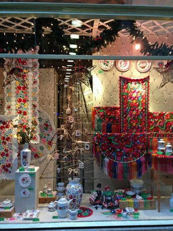 Traditional Hungarian crafts and goods in the elaborate window display of a souvenir store near Vaci Utca in Budapest, Hungary.