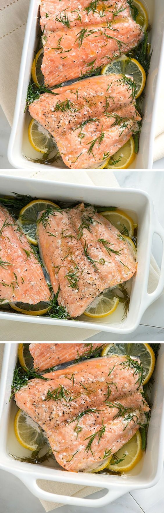 Baked Salmon Recipe with fresh lemon and dill - This is one of our favorite ways to cook salmon! Find the recipe on inspiredtaste.net