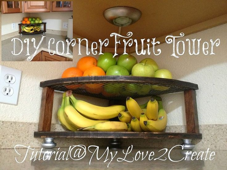 Build a space-saving fruit tower from plywood & hardware cloth.