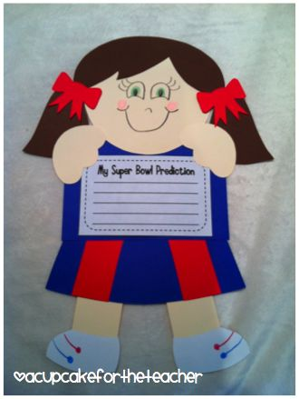 Cheerleader buddy!! Use her for football or basketball {writing prompts included: Super Bowl, March Madness, NBA Finals}!