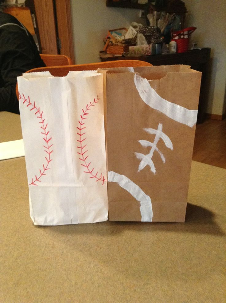 Football & Baseball goody bags.... for snacks or table decorations